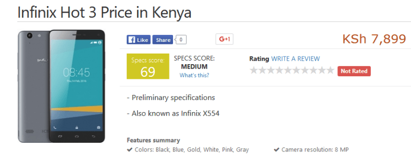 price of infinix hot 3 in kenya revealed