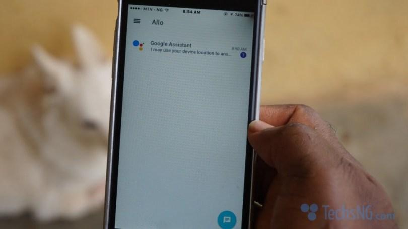 Grant location access to google allo