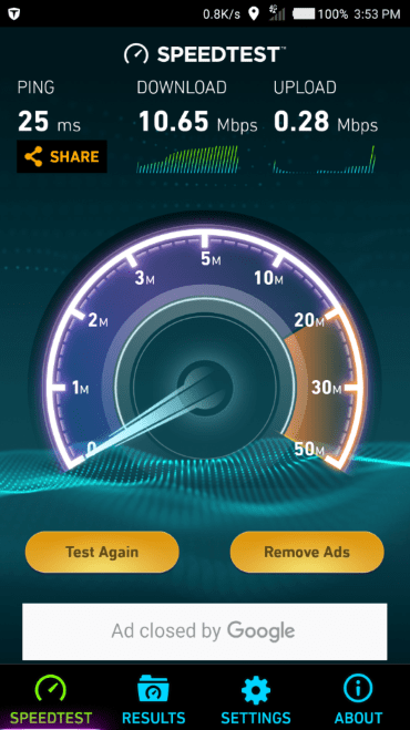 nTel Speedtest on tecno camon c9