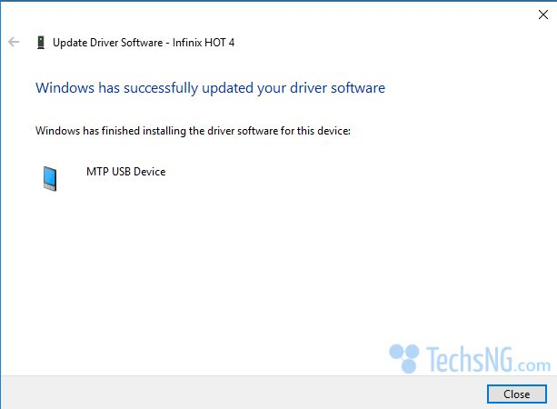 MTP Driver successfully installed