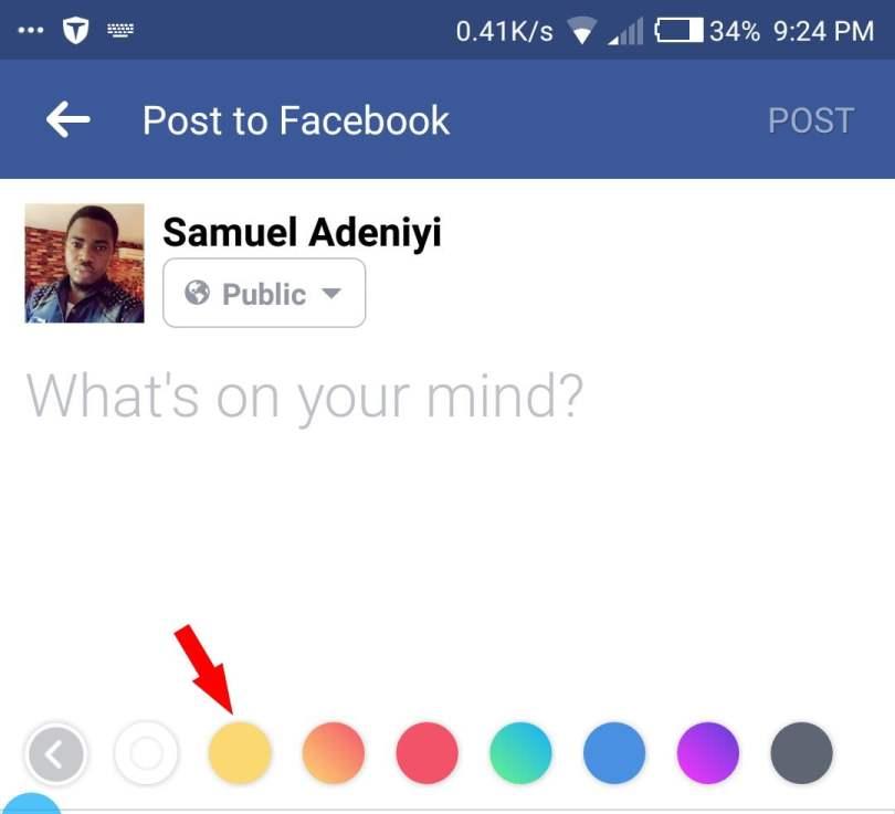 preset background colors for facebook status update