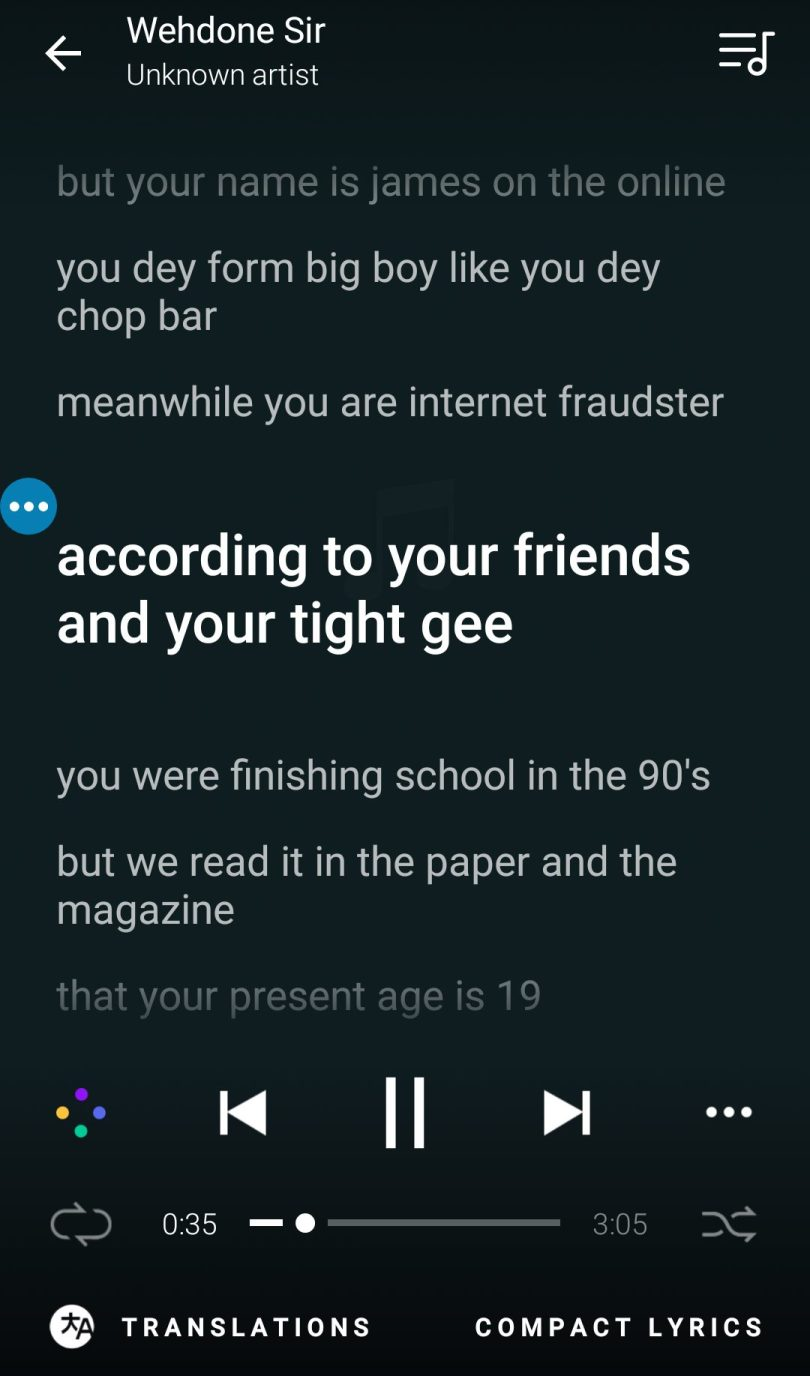 MusixMatch for android displaying lyrics of a nigerian song