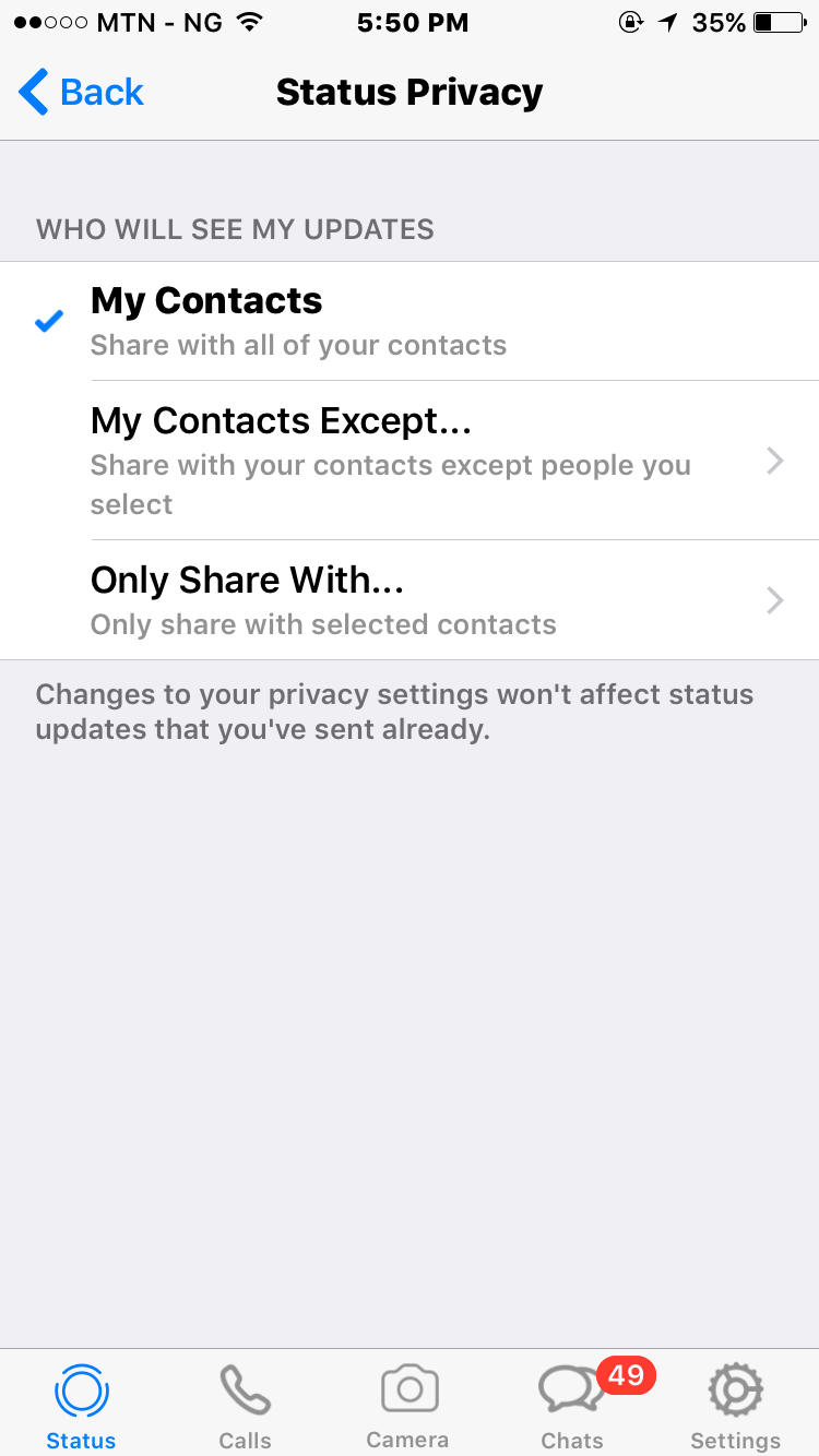 WhatsApp privacy settings for status updates