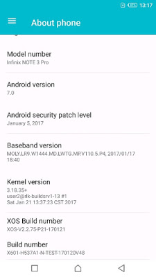 Infinix note 3 Android Nougat update