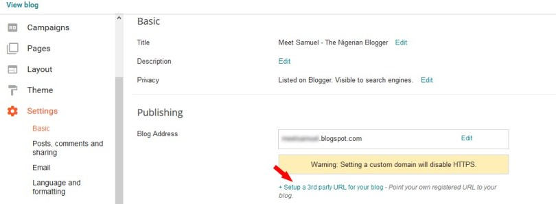 Edit publishing settings on blogger blog