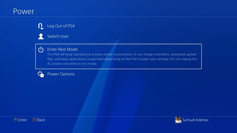 Enter rest mode option on PS4