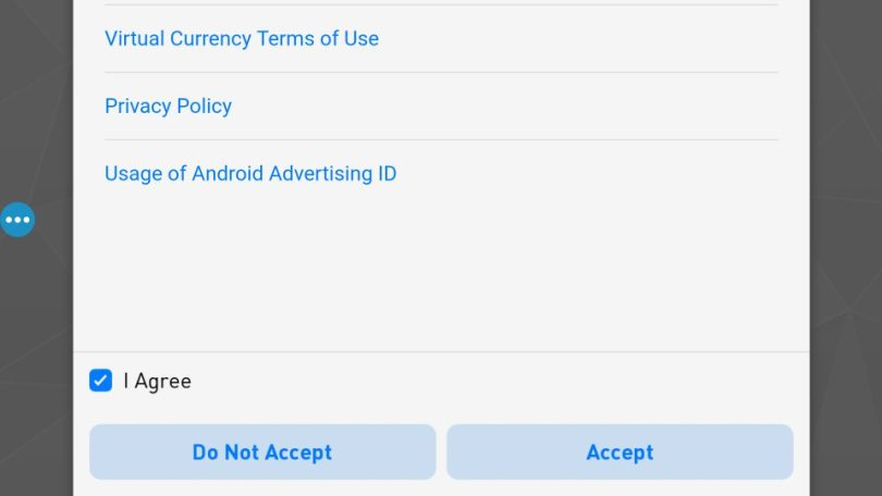 License agreements on PES2017 android