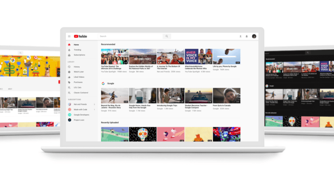 New Youtube design layout on desktop