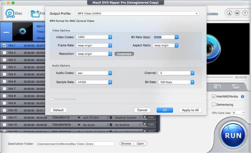 MacX Ripper pro output settings