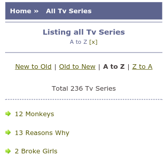 o2tvseries list all TV series