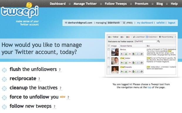tweepi online twitter tool