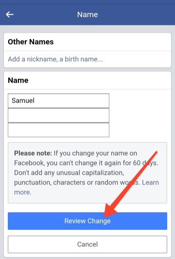 successfully change name to single name on Facebook
