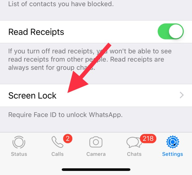 Screen lock option in whatsapp for iPhone