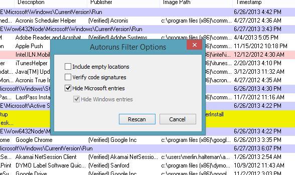 Filter Options for Autoruns