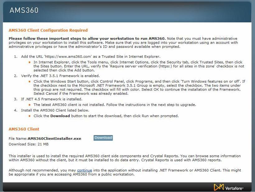 AMS360 Client Install Error