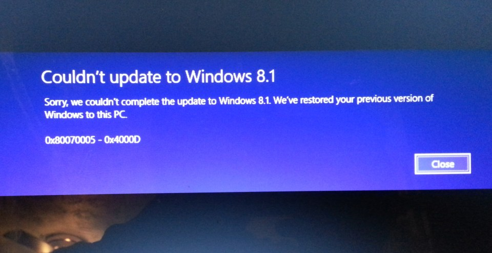 8.1 upgrade error