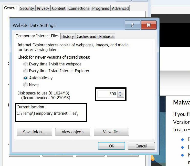 Temporary Internet Files Fixed