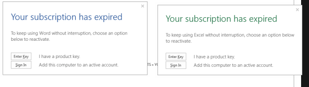 Office 365 Subscription Has Expired
