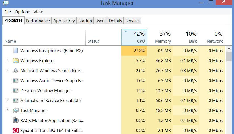Task Manager Windows 8.1 Rundll32.exe