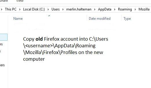 Copy old Firefox profile