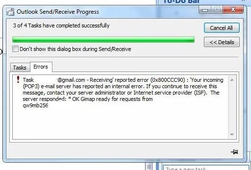 Gmail POP Error