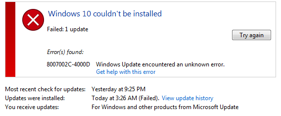 Windows 10 Upgrade Error
