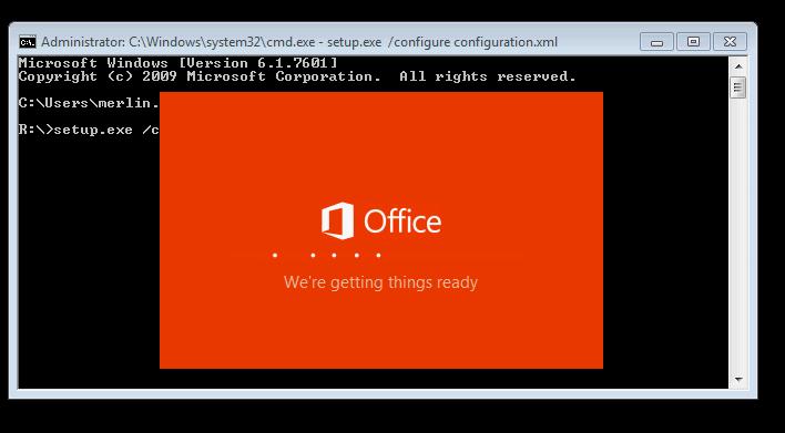 Office 2016 Installation Starting