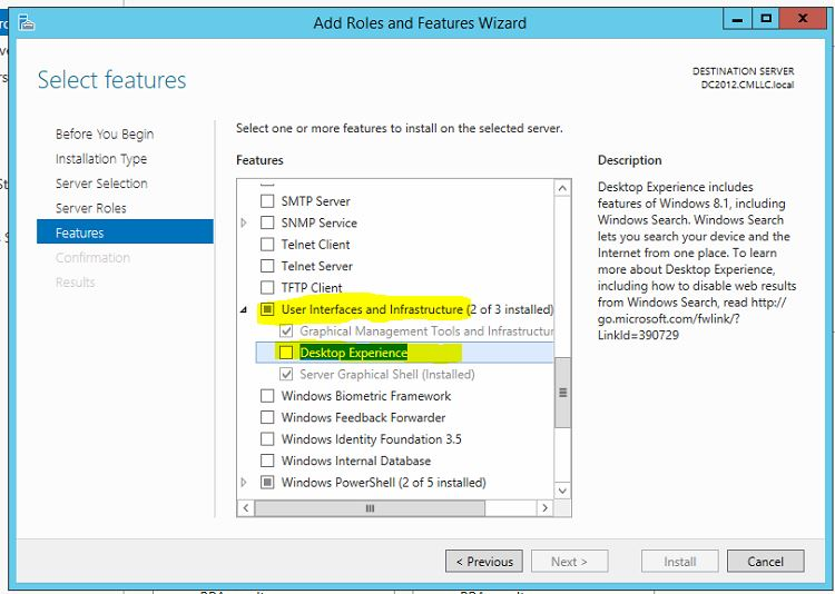 Desktop Experience Server 2012 R2