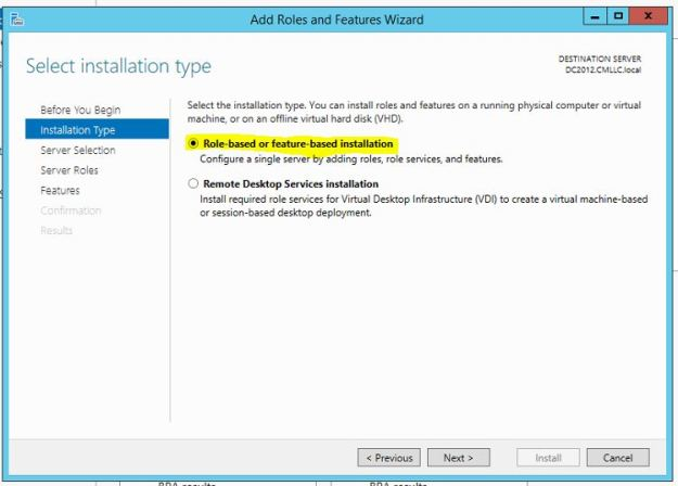 Server 2012 Role Based Installation