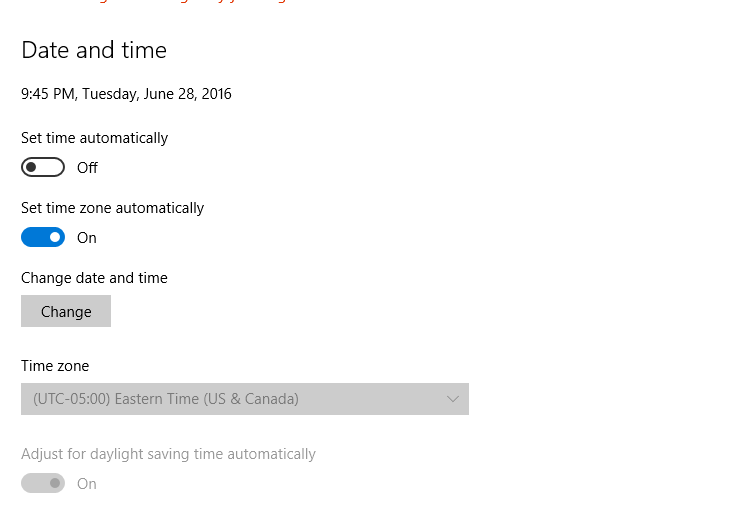 how to change timezone settings on windows 10