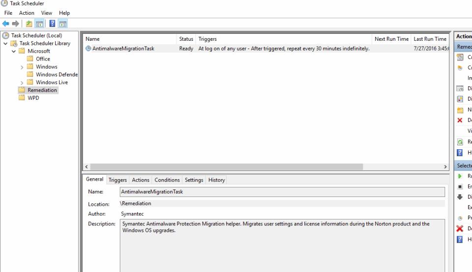 Norton Remediation Task Scheduler