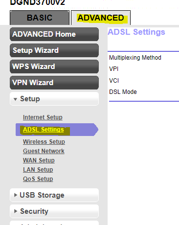 ADSL Settings Netgear N600