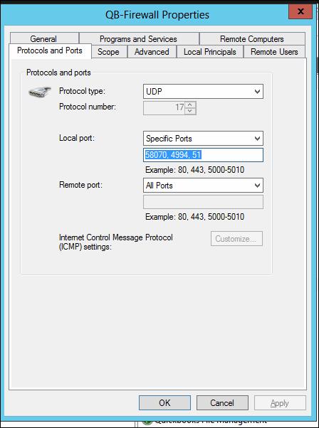 Quickbooks Pro 2015 Firewall Ports