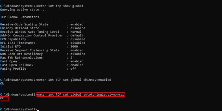 netsh int TCP set global autotuninglevel=normal