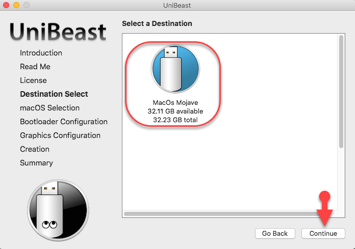 Select USB drive for MacOS