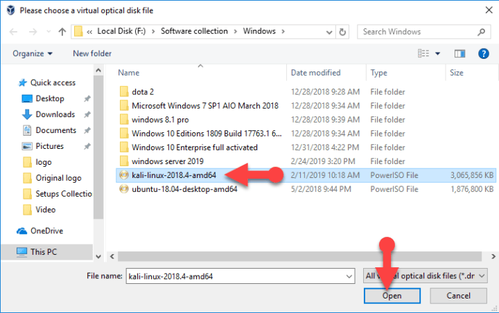 Select ISO file