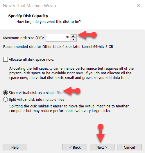 Specify the Disk