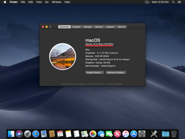 MacOS Mojave screen