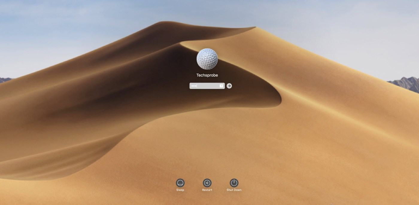 Sing in to MacOS Mojave
