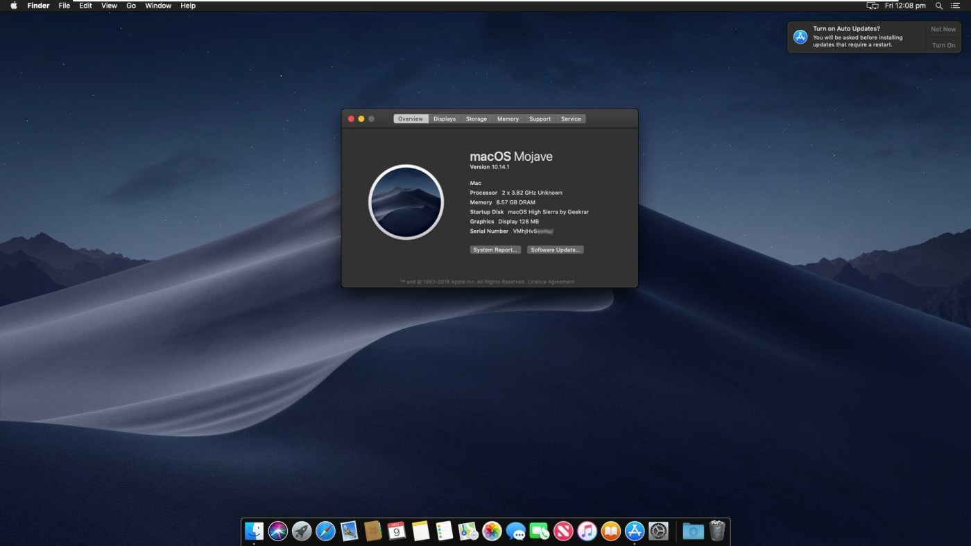 MacOS Mojave upgraded