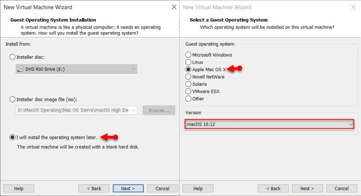 Guest operating system settings