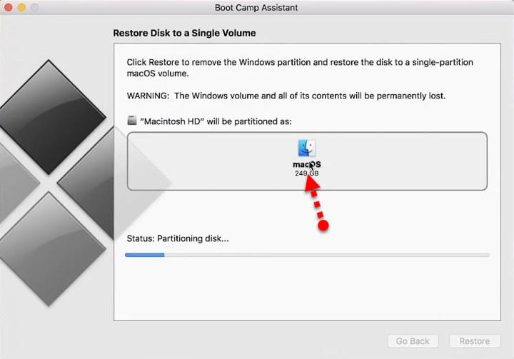 Restore a Disk to a single volume