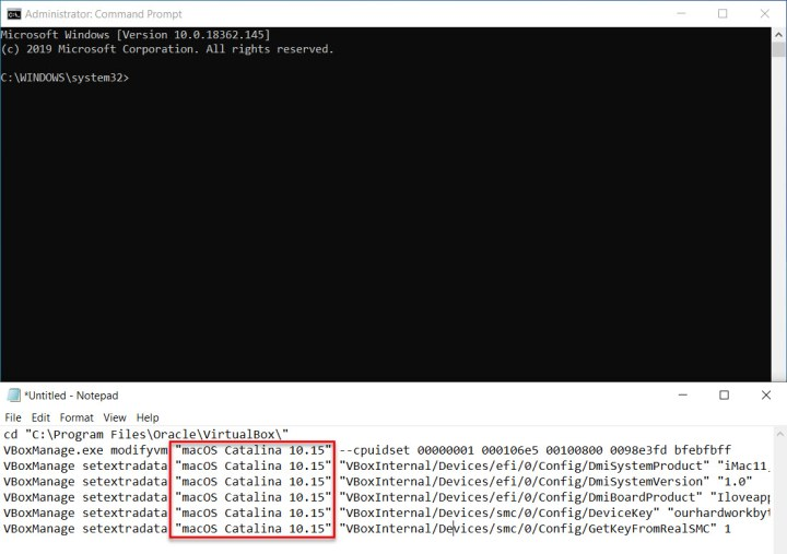 Copy and Paste the codes into CMD