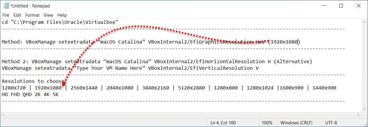 Edit screen resolution size