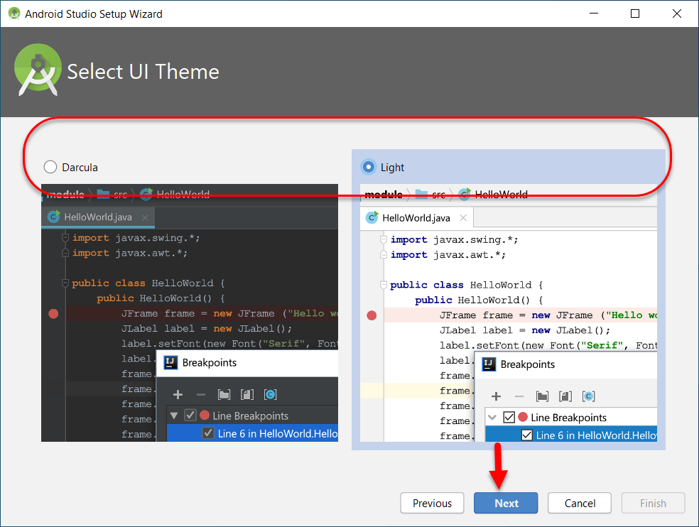 Choose theme for Android Studio