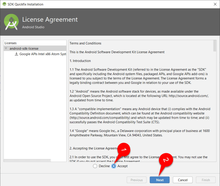 Android Q license Agreement