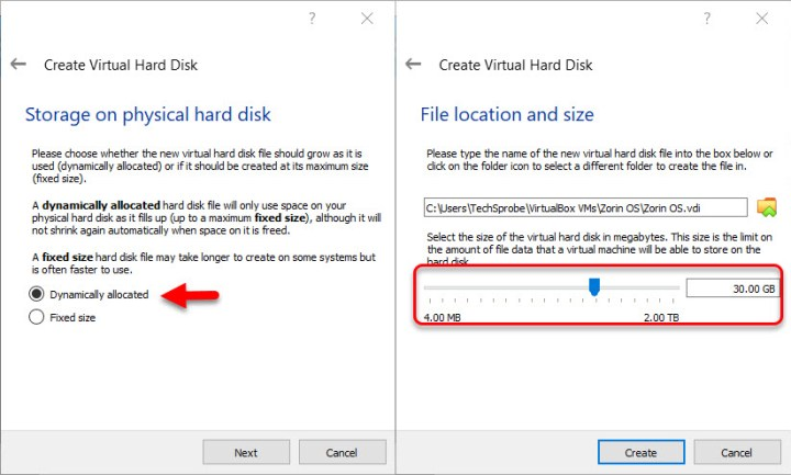 Storage on physical hard disk+File location and size