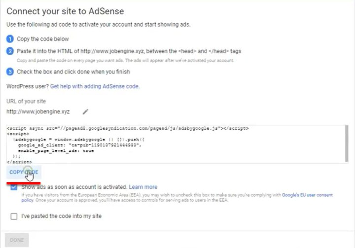 Connect your side to AdSense