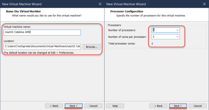 Name the virtual machine & increase the number of processor