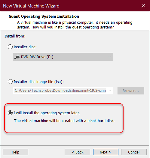 I will install the operating system later